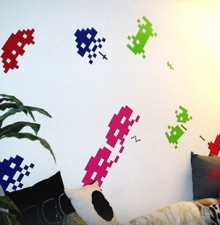 space invader wall art by blik
